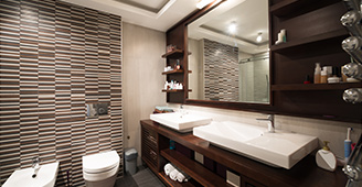 Modern bathroom with custom plumbing fixtures and appliances
